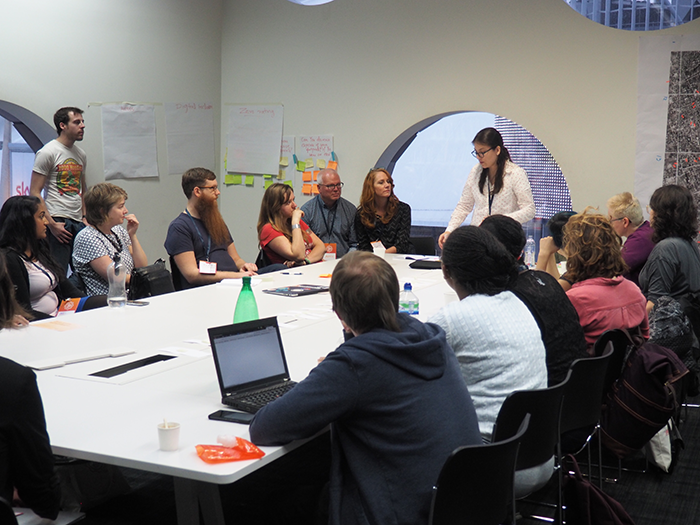 Andrea running a session at the Mozilla Festival