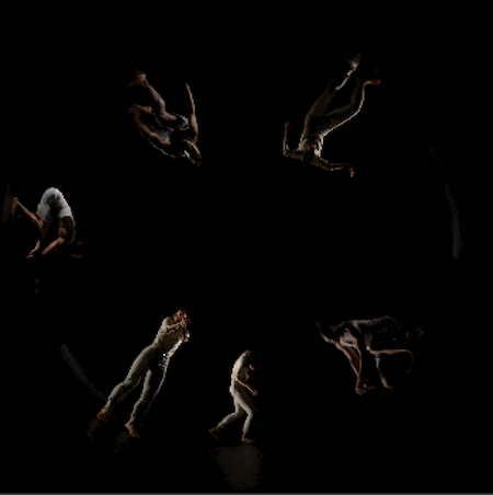 A section of one of the dance sequences (in progress). This represents a collaborative aspect of the project with three dancers from SFU's School for the Contemporary Arts.