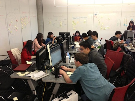 IDEA-X students working on their final game projects at the Centre for Digital Media