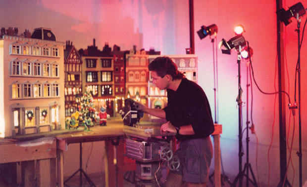 Setting up a shot for A Claymation Christmas Celebration