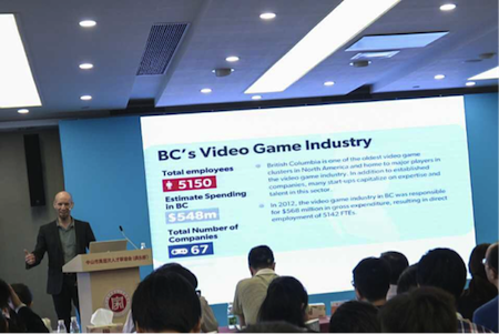 Patrick presenting on BC's Video Game Industry