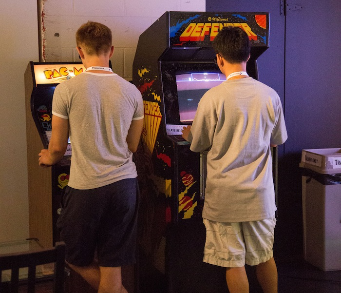 Playing retro arcade games at Evolution of Gaming