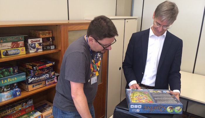 Richard Smith looking at board games at PUC PR