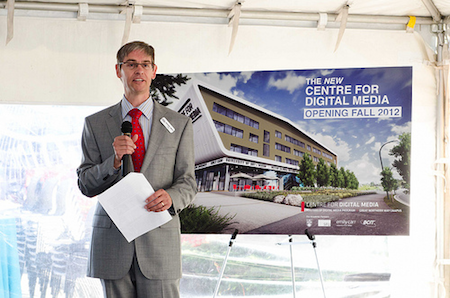 Dr. Richard Smith presenting the new Centre for Digital Media building