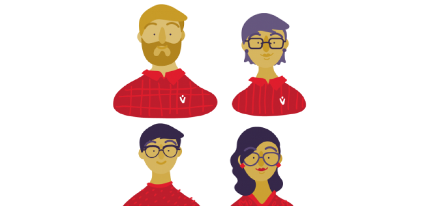 Illustrations of the team members from Davos