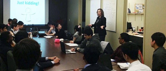 Karin teaching a UX session with engineering undergrads.