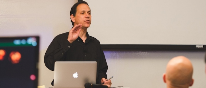 Ken Perlin speaking at the Symposium at the Centre for Digital Media